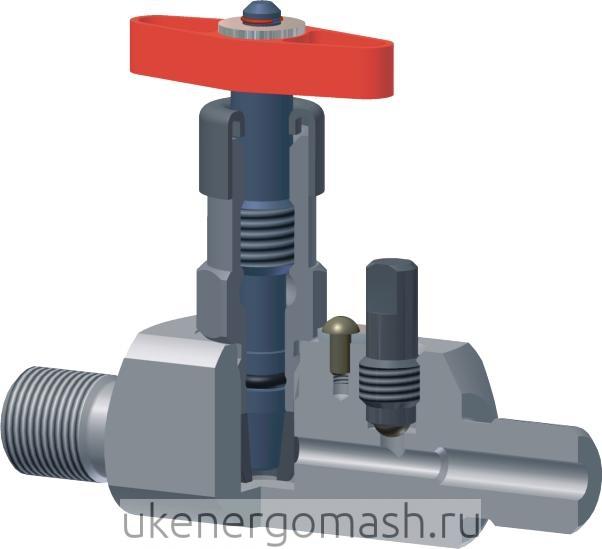 Клапан стальной прямоточный под манометр, М22Х1,5